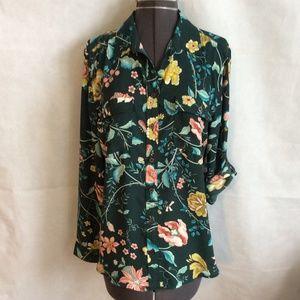 Loft Ann Taylor Button Shirt M Dark Green Floral
